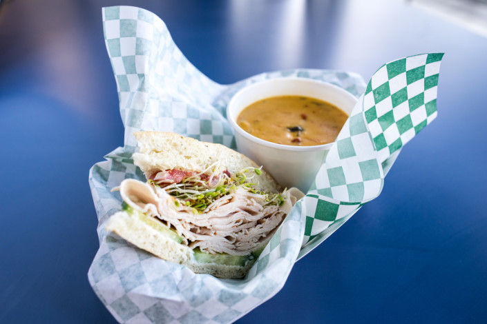 Turkey Sandwich w/ Chicken Coconut Curry Soup